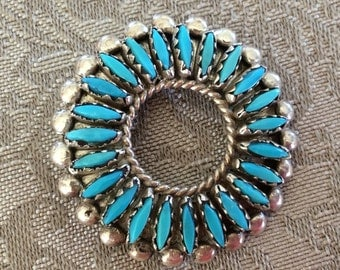 Vintage Navajo signed rosette sterling silver pin brooch or pendant turquoise stone