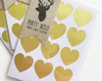 Mini Heart Stickers Pk48 - Metallic Gold
