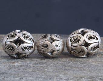 3 Antique silver beads. Filigree work. Essaouira, Morocco