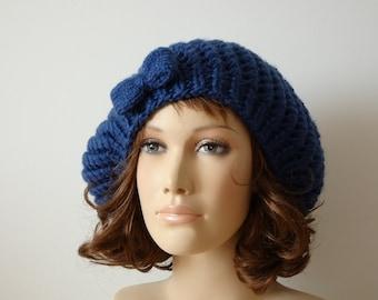 One size dark blue beret for women