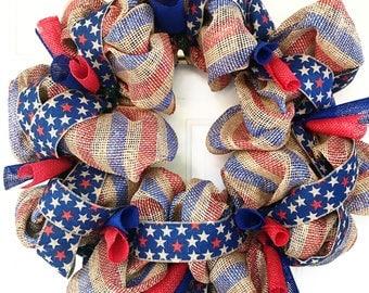 Burlap Red, White & Blue Patriotic Stars Wreath - 26in