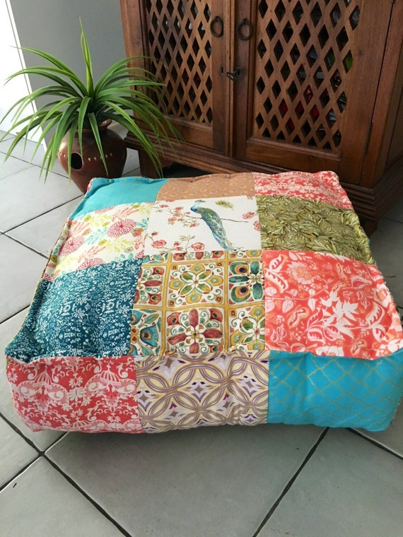 Giant Bohemian Floor Pillows : Large Square Patchwork Floor Cushion Cover Prairie Chic