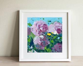 Hydrangea Painting Flower Painting Oil on Canvas Flowers Art Kitchen Wall Decor Gift for Her Gift Mother's Day Christmas Gift for Women