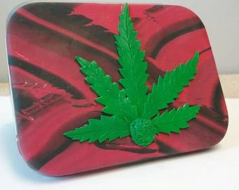 Stoners Gift, Stoners Accessories, Smoking Accessories, Cannabis Leaf, Marijuana Leaf, Tobacco Tin, Pot Leaf, Polymer Clay