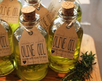 FREE SHIPPING 40 Oregano or Rosemary Infused Olive Oil  Favors, Unique Wedding Party Favors, Unique Wedding Favours, Bridal Shower Favors