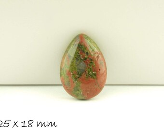 1 PCs drops cabochon Unakite, 25 x 18 mm