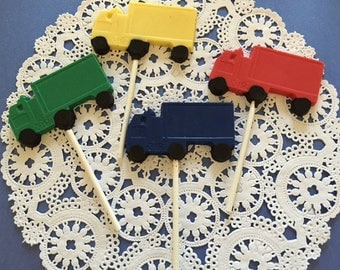 TRUCK- SEMI TRUCK Chocolate Lollipops(12 qty) -Truck Birthday/Boys Truck Party/Big Rig/Semi Truck/Party Favors/Trucks/Truck Party Favors