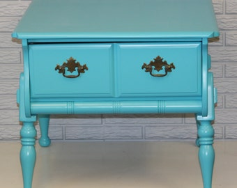 Bright Blue Vintage Side Table