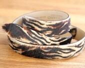 Tiger Print Leather Belt  Narrow Tiger Print Belt Boho Animal Print Belt Narrow Leather Belt Animal Print Belt