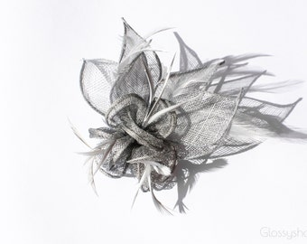 Silver Sinamay Flower Feather Fascinator Clip