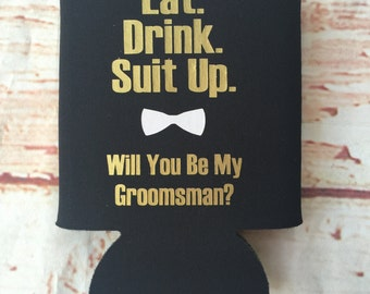 Groomsmen Proposal Gift - Groomsman Can Coolers  - Bachelor Party Favors - Bachelor Party Gifts - Groomsman Gifts - Suit Up