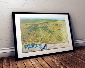 Map of the Saskatchewan River Valley, Canada. This colour print is signed by artist. Great Christmas, Birthday, Anniversary Gift.