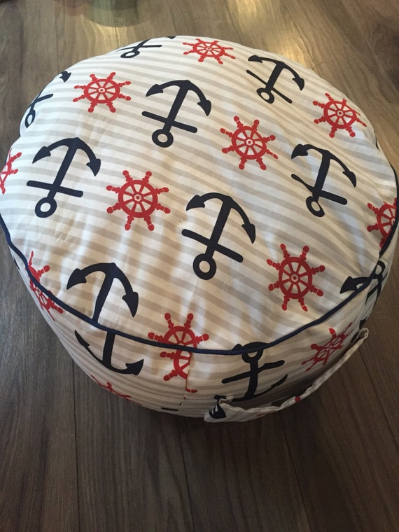 Red and Blue Nautical Floor Pouf Kids Floor Pillow