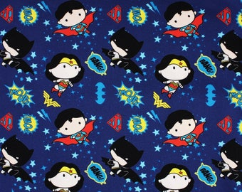 Justice League Super Heroes Character Fabric made in Korea DC Comics Fabric by the Half Yard