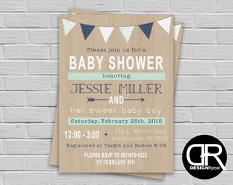 CUSTOMIZABLE Baby Shower modern rustic theme invitation. Fully Customizable! Digital download only.