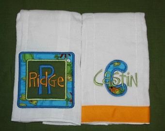 Custom appliqued frog burp cloth set