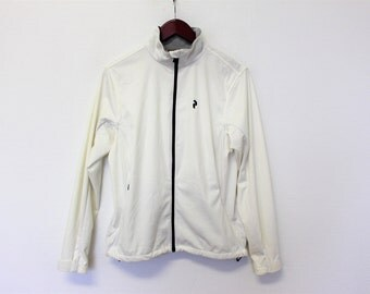 Vintage Sports Jacket PEAK PERFORMANCE White Track Jacket  Jogging Jacket Running Parka  Women's Sport Coat Large