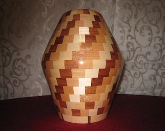 Mahogany Maple and Beech Vase