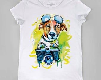 Jack Russel t-shirt, Jack Russel watercolor, Ladies t-shirt