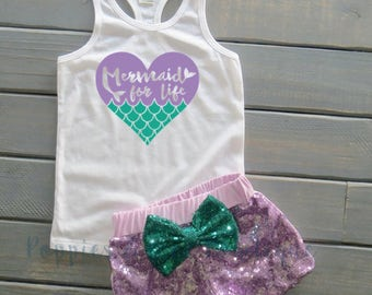 Mermaid For Life Outfit, Mermaid Birthday Outfit, Under the Sea, Cute Girls' Clothing, Gifts For Her, Sequin Shorts, Girls' Summer Outfit