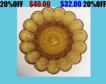 Vintage Amber Hobnail Glass Devilled Egg Plate