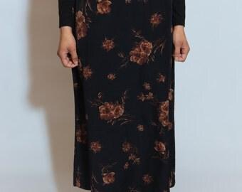 VINTAGE 90s Floral Print Maxi Skirt