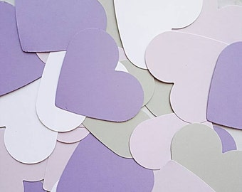 "2"" Purple Grey and White confetti hearts. Handcrafted in 1-3 Business days 100CT"