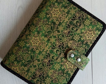 A5 Binder cover Planner Cover Fabric A5 Binder Green Binder cover with 6 ring binder notebook ready to ship A17