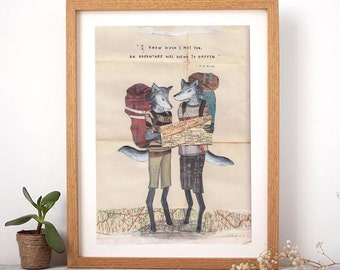 """Adventuring Wolves - AA Milne Quote [ A4 Print & 8x10""""]"""