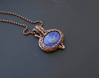 Lapis pendant, wire jewelry, lapis jewellery, wire wrapped pendant, fantasy pendant, wire wrapped jewelry, copper pendant, lapis lazuli