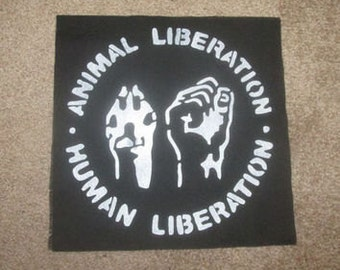 Animal liberation Human liberation vegan patch