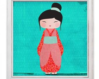 Illustration kokeshi Miko
