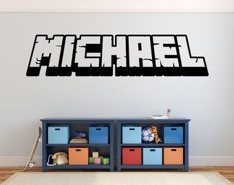 Personalized Gamer's Name 3D wall decal kids Gaming Video Game available in 13 different sizes and 30 different colors 025
