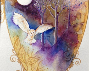 Owl Watercolour Painting Original Owl Painting Owl and Moon Painting Owl and Moon Art Owl Wall Art Bird Painting Original Painting Heart Art