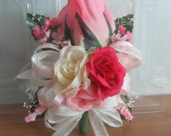 Pink/Ivory Rose Wrist Corsage, Corsage, Wedding Corsage, Wedding, Mother's Day Corsage, Mother's Day, Wristlet Corsage, Prom Corsage, Prom