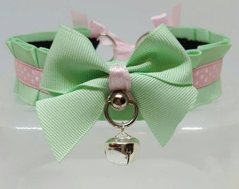 ON SALE*** Mint and pink polkadot, 12 inches collar