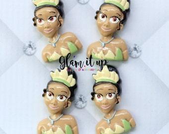 Tiana bow center-princess and the frog bow Center- tiana inspired Flatback resin- princess tiana cabochon-tiana hair bow center-hair bow