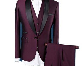 3 Piece Tuxedo in Red/ Men's Tuxedo's/ Men's Wedding Suits/ Men's Wedding Attire