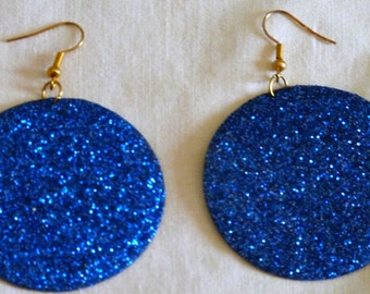 Large Round Earrings Blue Vintage Earrings with Snine Original Women Earrings Bright Blue Extravagant Jewelry