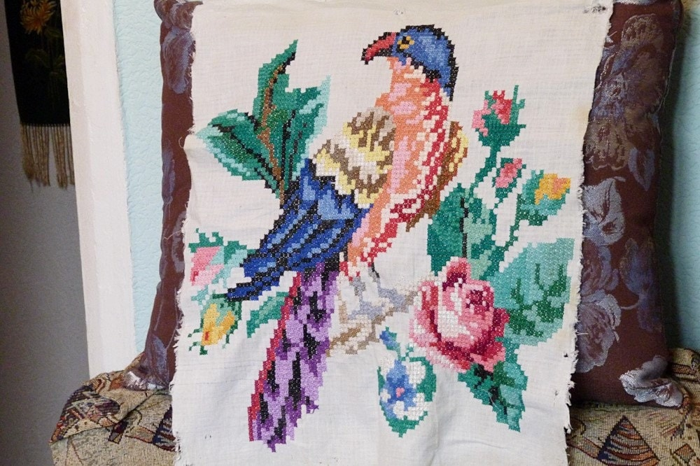 Vintage ukrainian embroidery embroidered picture eden bird