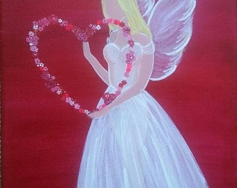 Love Laid Bare. Original modern romantic angel painting in acrylics