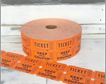 Orange Raffle Tickets  - (30) Vintage Tickets - Orange Double Raffle Carnival Party Tickets
