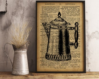 Antique Coffee pot print, Vintage style dictionary art Old Coffee pot poster, Vintage Coffee pot wall art kitchen decor, coffee shop art V09