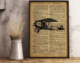 Airplane illustration Print, Aircraft vintage style Print wall art Decor, Pilot Gift, Aviator Gift,  Aviation art Antique Airplane (A21)
