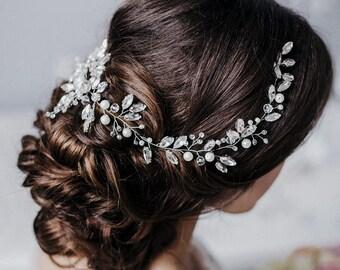 Crystal Long Wedding Hair Vine  Bridal air Vine  Long Crystal Hair Accessories  Wedding Crystal Vine Bridal Hair piece