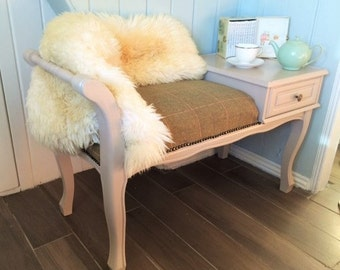 SOLD Vintage Warm Taupe Satin Finish Pure Soft Wool Telephone Bench