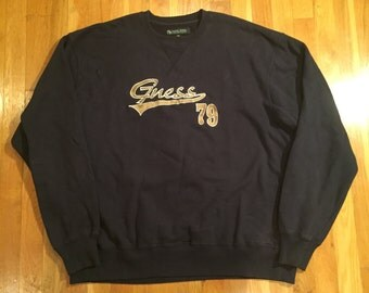 Vintage Guess crewneck sweatshirt size XXL(XL) navy guess 79 1979 guess jeans feel the future