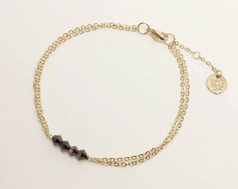 NAMASTE | Gold two-layer chain bracelet with onyx beads