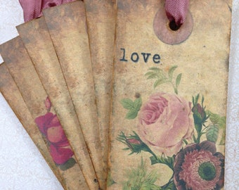 Antique Gift Tags/Vintage Style Gift Tags/Antique Floral Bookmarks/Vintage Floral Sentiment Gift Tags/Vintage Floral Bookmarks/Set of 6