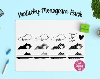 11 Kentucky SVG - Kentucky State SVG - Kentucky Monogram Frames -  Pride, Love, Home,  - Cutting Files for Cricut and Silhouette